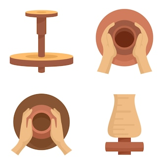 Potters wheel icon set