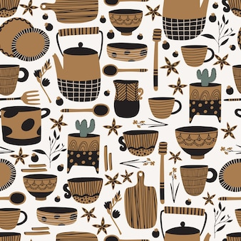 Pottery and ceramics seamless pattern