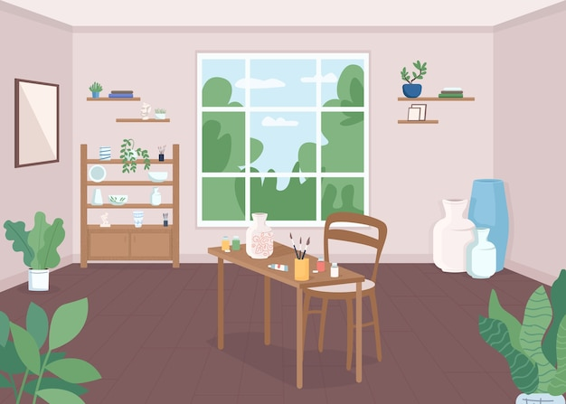 Pottery classroom flat color illustration. craftsmanship lesson. workshop for artist. paint ceramics for hobby. art class. craft studio 2d cartoon interior with window on background