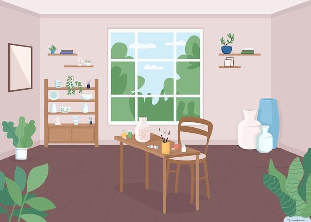 陶芸教室フラットカラーイラスト。職人技のレッスン。アーティストのためのワークショップ。趣味の陶器をペイントします。アートクラス。背景に窓があるクラフトスタジオ2d漫画のインテリア