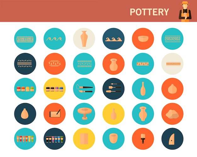 Pottery concept flat icons.
