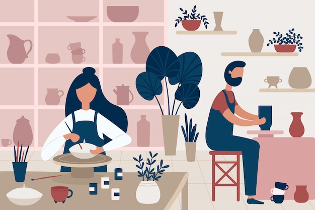 Гончарное хобби. глиняная посуда ручной работы, люди, украшающие горшки и ремесленная гончарная мастерская плоской иллюстрации