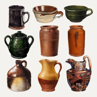 Pottery jugs and mugs vector design element set, remixed from public domain collection