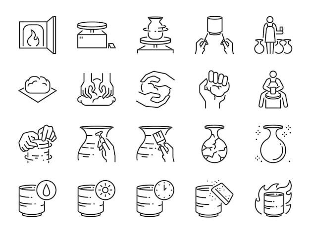 Pottery line icon set.