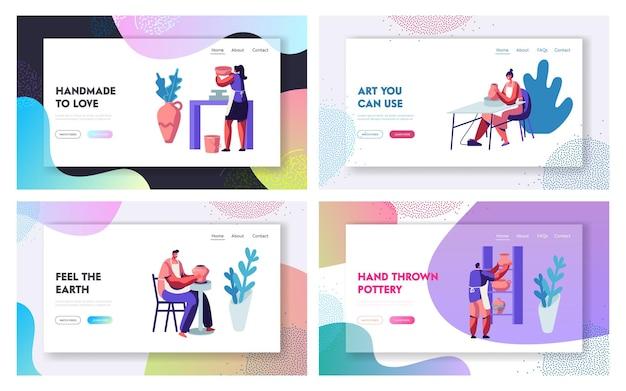 도자기 제조 웹 사이트 방문 페이지 템플릿 세트.