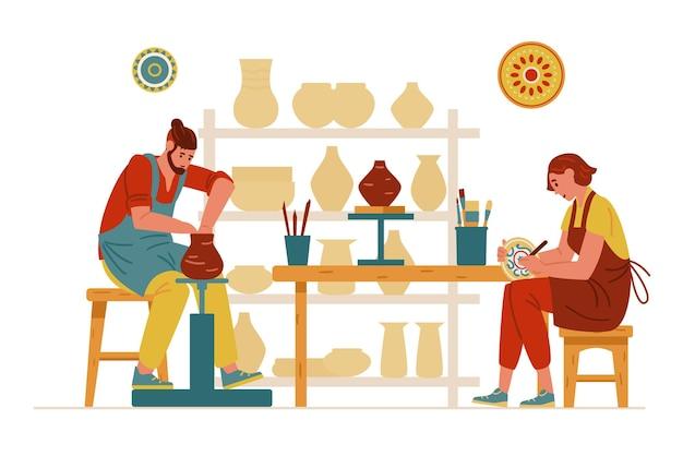 Интерьер гончарной студии с керамикой и людьми, работающими мужчиной, делающим глиняный горшок. женщина рисует блюдо