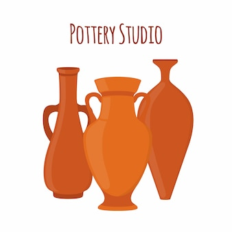 Pottery studio label logo