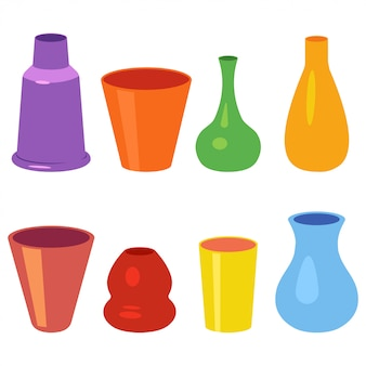 Керамические вазы для цветов векторный мультяшный набор изолированы.