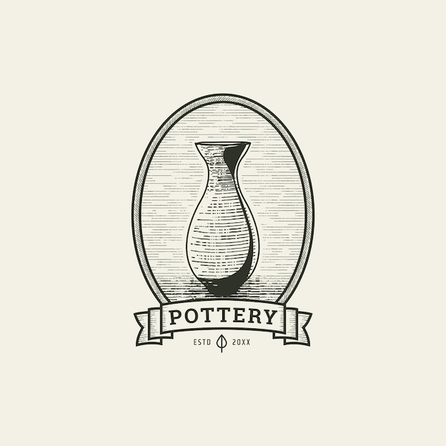 Pottery with engraving style logo icon design template vector illustration