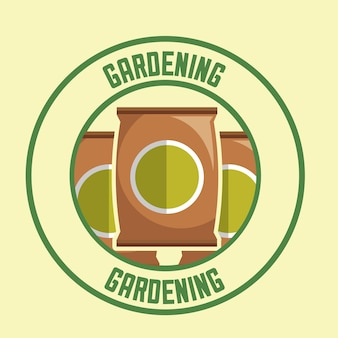 Potting soil packages tool label gardening image