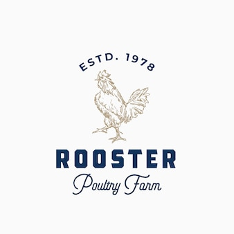 養鶏場の抽象的な記号またはロゴテンプレート手描きルースターシルエットとレトロなタイポグラフィ。
