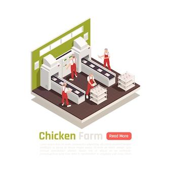 Impianto di produzione industriale di allevamento di pollame con carne di pollo su banner isometrico del sistema di imballaggio del nastro trasportatore automatizzato