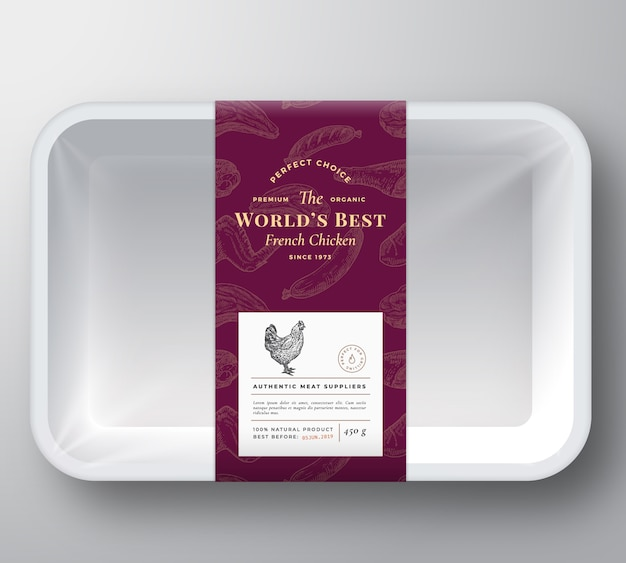 Poultry meat plastic tray container
