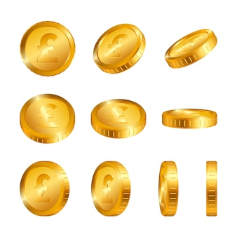 Pound gold coins isolated