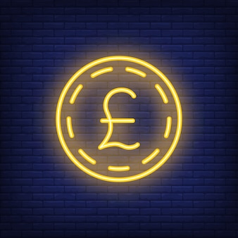Фунт стерлингов монеты на фоне кирпича. неоновый стиль иллюстрации. деньги, наличные деньги, обменный курс