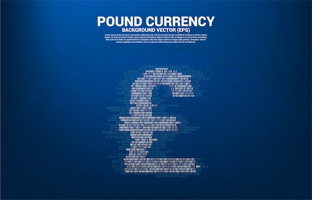 Pound sterling currency money icon from circuit board style dot connect line background template