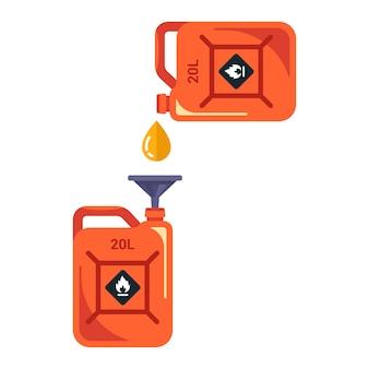 漏斗を使用して、あるキャニスターから別のキャニスターにガソリンを注ぎます。フラットベクトルイラスト。