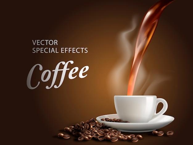 Налить горячий кофе в кофейную чашку, коричневый фон