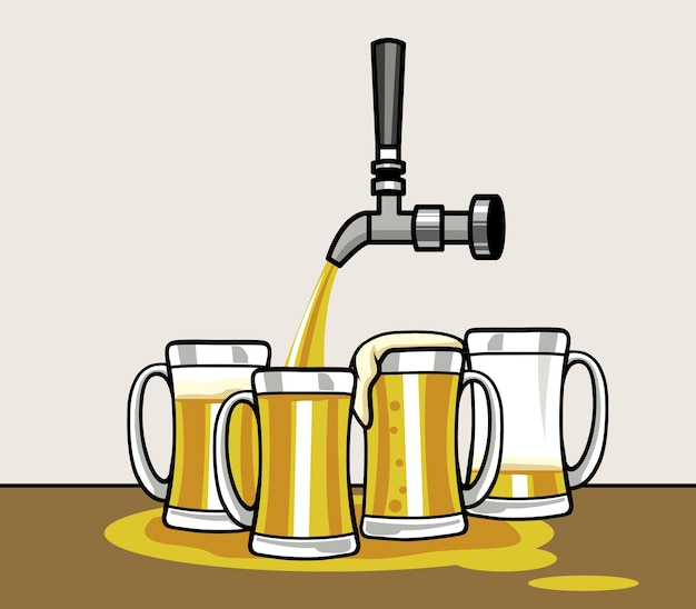 Pouring beer on a group of mug