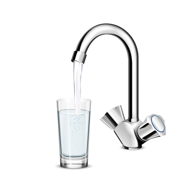 Pouring glass of water from stainless steel kitchen faucet