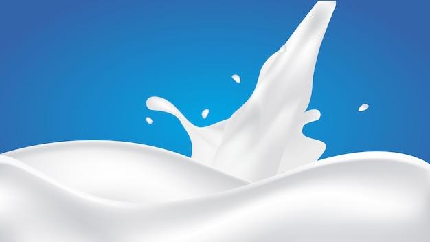 Pouring milk splash on blue background