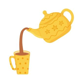 컵에 노란색 물방울 무늬 찻주전자에서 차를 붓는