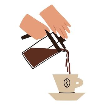 お茶をカップに注ぐ。手はフレンチプレスを保持します。温かい飲み物を準備します。白い背景で隔離のベクトルフラットイラスト。