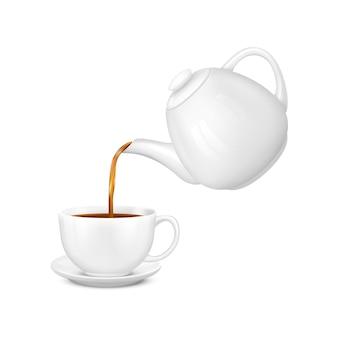 Composizione realistica di tè di versamento con illustrazione isolata