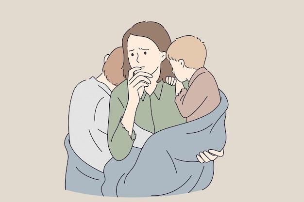 貧困シングルマザートラブルコンセプト