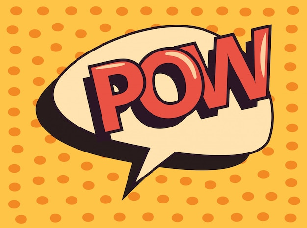 Pow comic speech bubble pop art dots background