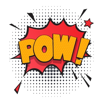 Pow comic speech bubble in pop art style