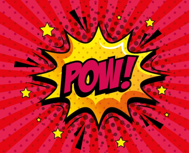 Pow expression with explosion pop art style
