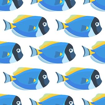 파우더 블루 탱 물고기 완벽 한 패턴입니다. 파란색 배경에 잔잔한 외과 의사 물고기 벽지