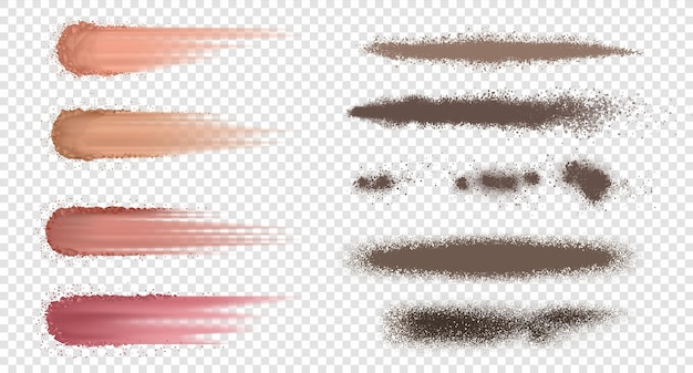 Powder brush. realistic ash or flour splash, dust and dirt explosion, dark blusher and dry spray. vector set isolated crumbly spray on transparent background