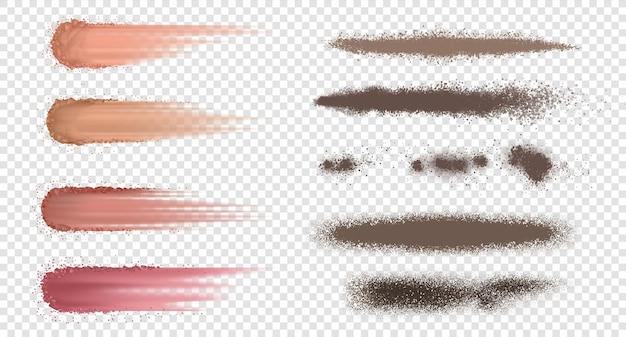 파우더 브러쉬. 현실적인 재 또는 밀가루 튀김, 먼지 및 흙 폭발, 어두운 블러셔 및 마른 스프레이. 벡터 투명 한 배경에 고립 된 부서지기 쉬운 스프레이 설정
