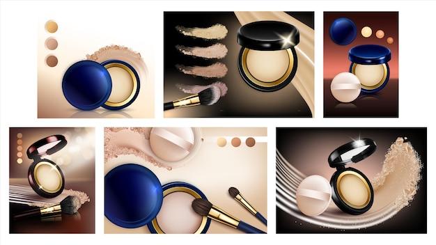 Пудра косметика творческие промо плакаты установить вектор. пустые пакеты для пудры для макияжа с рекламными баннерами для сбора информации о слоях и зеркалах, кистях и мазках. красота аксессуары стиль шаблона иллюстрации Premium векторы