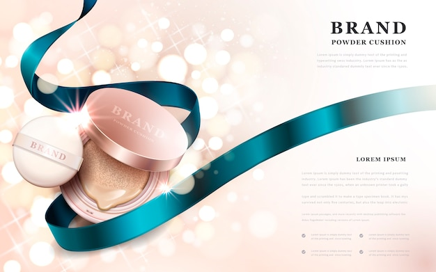 Powder cushion ads, golden pink product with blue ribbon isolated