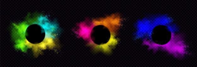 Powder holi dipinge cornici rotonde nuvole colorate o esplosioni, schizzi d'inchiostro, bordi decorativi vibranti di tintura sul nero