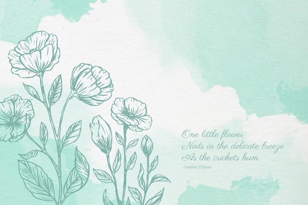 Powder pastel background with botanical elements
