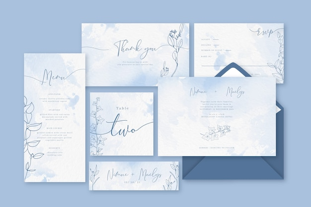 Powder pastel blue wedding stationery