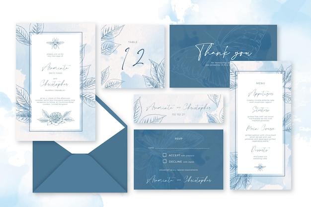Powder pastel wedding stationery