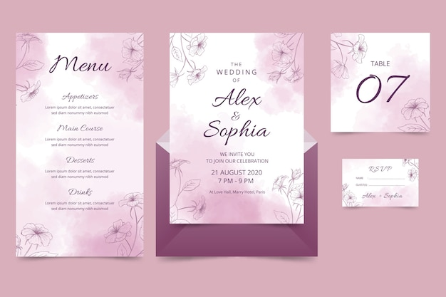 Powder pastel wedding stationery