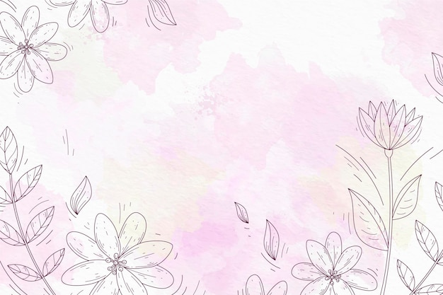 Powder pastel with hand drawn elements wallpaper