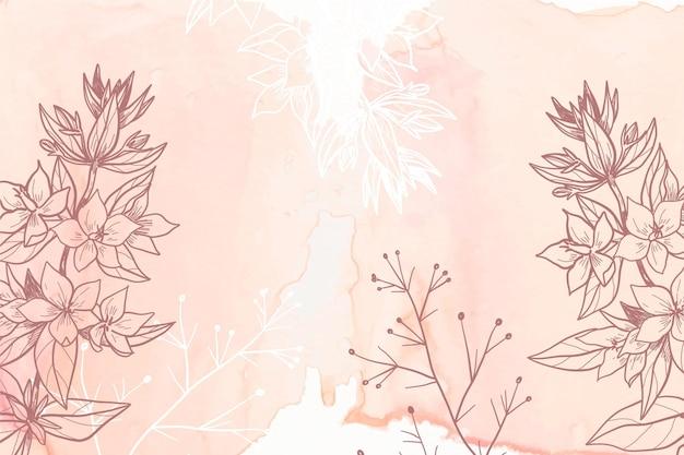 Powder pastel with hand drawn flowers background