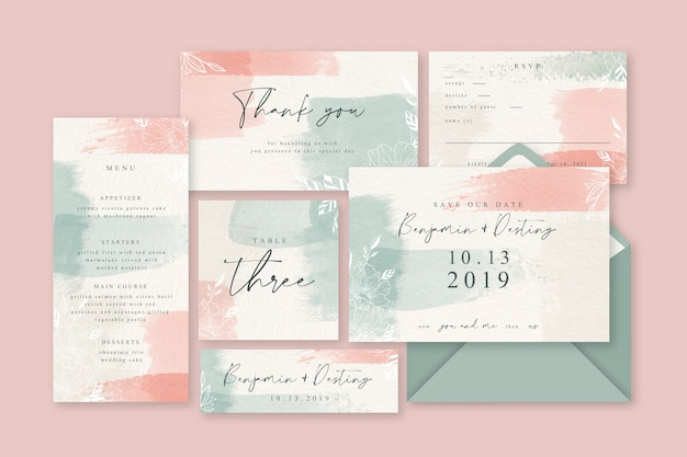 Powder pink pastel wedding stationery