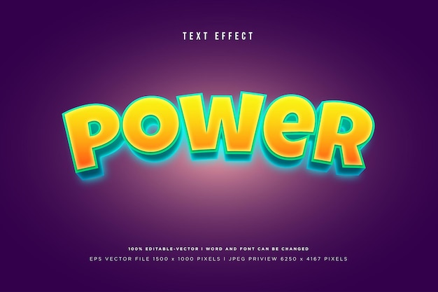 Power 3d text effect on purple background