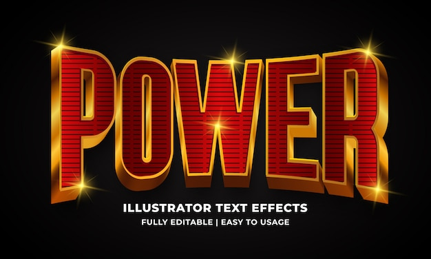 Power 3d text style effect