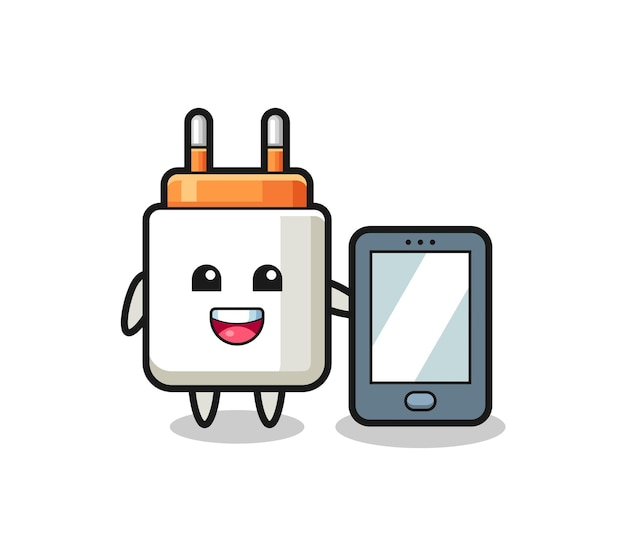 Power adapter illustration cartoon holding a smartphone , cute design