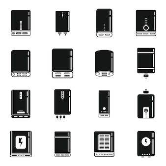 Power bank battery icons set simple vector. accumulator bank. external charger