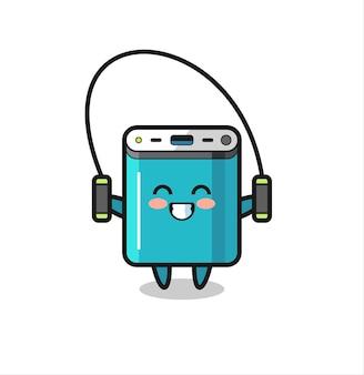 밧줄을 건너뛰는 전원 은행 캐릭터 만화, 티셔츠, 스티커, 로고 요소를 위한 귀여운 스타일 디자인